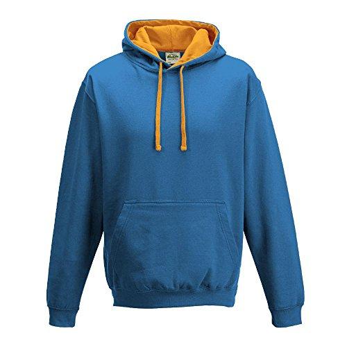 Just Hoods Varsity - Sudadera unisex con capucha, dos colores azul - Saphire Blue/Orange Crush