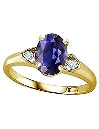 Star K Oval 8x6 Genuine Iolite Love Promise Ring 10kt Gold