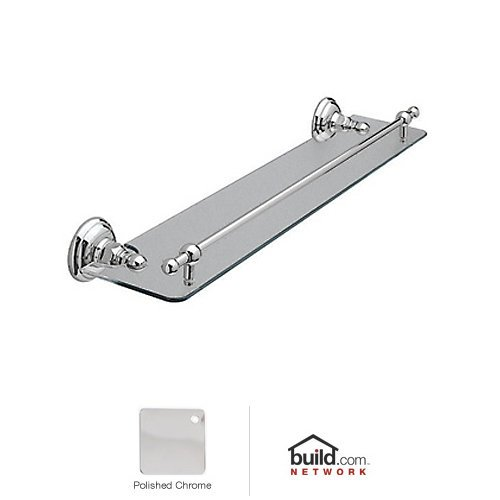 Rohl A1480APC Country Bath Wall Mounted Glass Vanity Shelf with Front Retaining, 24'', Polished Chrome