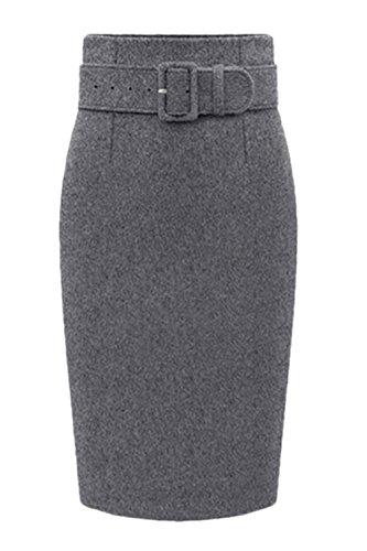 Vintage Grey Automne lgantes Bureau Et Du Une Midi Taille Femmes Jupe Hiver Bodycon Taille Dame Les Haute xaq6Ezw8