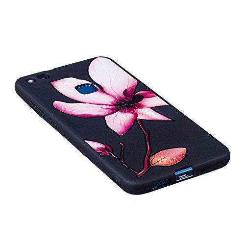 Funda Huawei P10 Lite, CaseLover Negro Suave Silicona TPU Carcasa para Huawei P10 Lite Ultra Delgado Flexible Gel Protectora Tapa Anti-Arañazos Movil Celular Cubierta Ligero Caja Anti-Rasguños Espalda Flor