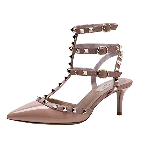 Kaitlyn Pointed Trim Leather Kitten Poudre Heel Studded Gold Pan Patent Pumps Nude Studs Toe Slingback 5rRq57w