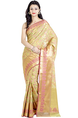 Chandrakala Women's Green Cotton Silk Blend Banarasi Saree,Free Size(1115GRE)