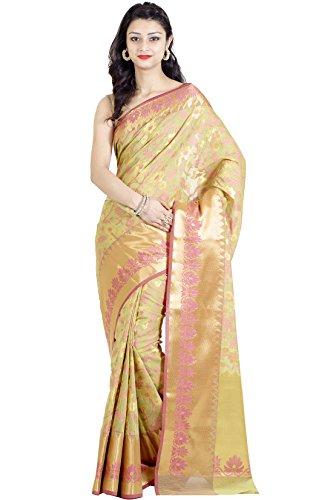 Chandrakala Women's Green Cotton Silk Blend Banarasi Saree,Free Size(1115GRE) - India Silk Sarees