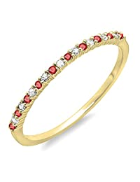 10K Yellow Gold Round Ruby & White Diamond Anniversary Wedding Band Stackable Ring