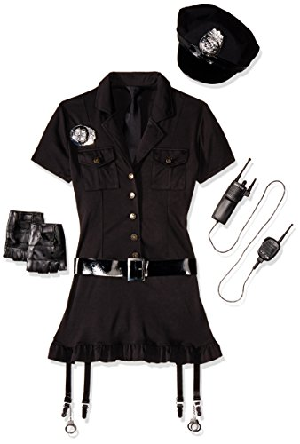 Leg Avenue Women's 6 Piece Dirty Cop Costume, Black, Small/Medium