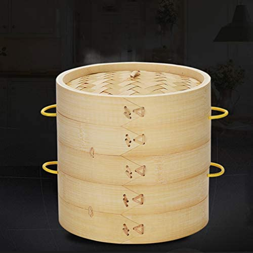 41nzZ0izKcL. AC DOITOOL Natural Bamboo Steamer Basket Set with Handle and Lid 20cm Traditional Chinese Steamer Basket Food Steaming Pot for Dumpling Bao Bun Dim Sum     Description 2 pcs Bamboo Steamer Kitchen Round Buns Steamer Cookware Food Steamer Cooking Tools for Restaurant Home