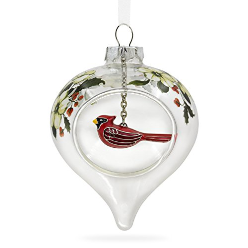 Hallmark Keepsake 2017 Winter Cardinal and Holly Glass and Metal Christmas Ornament - Cardinal Bird Ornament