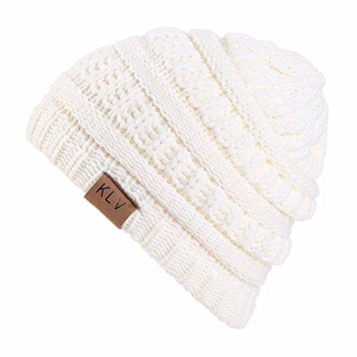 Big promotion ! Teresamoon Winter Boy Girls Fashion Warm Crochet Knitted Woolen Ski Beanie Skull Caps Hat (White)