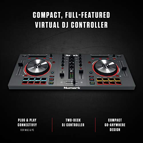 Numark Mixtrack 3 AllInOne 2Deck DJ Controller for Serato DJ Including an  LongThrow Pitch Faders 5inch High Resolution Jog Wheels and Virtual DJ LE