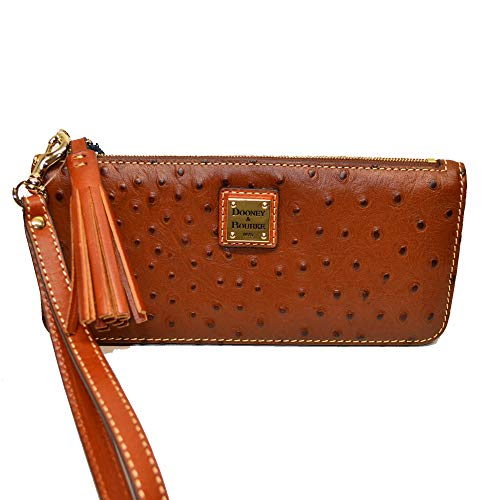 Dooney & Bourke Slim Wallet - Dooney & Bourke Slim Tatum Ostrich emb Leather Wristlet Cognac