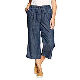 Woman Within Women's Plus Size Drawstring Chambray Relaxed Capri