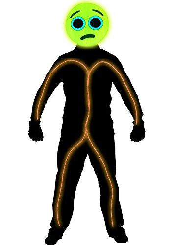 [GlowCity Light Up Worried Emoji Stick Figure Costume For Parties & Halloween, Orange - Small] (Stickman Light Costume)