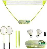 FBSPORT Portable Badminton Set with Net, Folding Volleyball Badminton Net with Storage Base,2 Badminton Racket