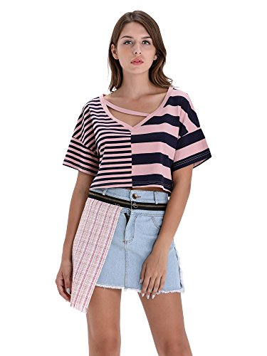 BARGOOS Women Summer Casual V Neck Striped Contrast Color Crop Tops Short Sleeve Tee T-Shirt - Waist Nylon Knit Shirt