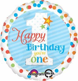 Anagram 18 Inch Circle Foil Balloon - Happy Birthday Youre One - 18