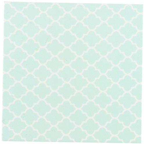 3dRose CST_120256_3 Mint Quatrefoil Pattern, Light Teal Turquoise Moroccan Tiles Pastel Aqua Blue Clover Lattice Ceramic Tile Coasters, Set of 4
