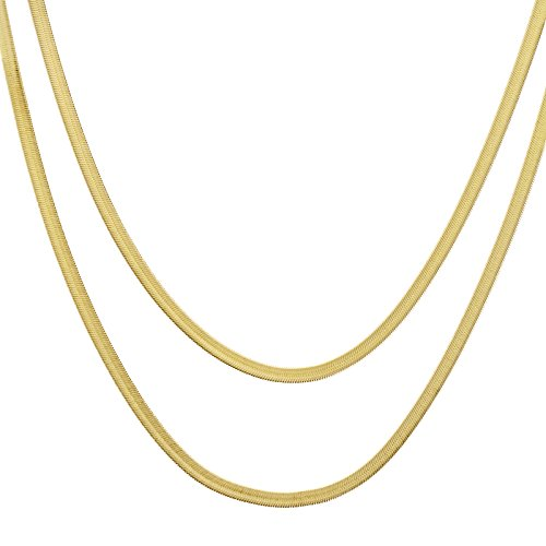 24 Inch Herringbone Chain Necklace - metaltree98 Men's Fashion Bling 14K Gold Plated 5 mm 20