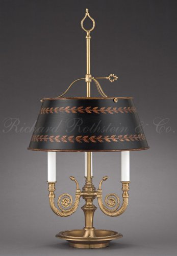 High-End Traditional Directoire Antique Style Three Horn Formal Brass Bouillotte Banker's Federal Empire Desk Table Lamp with Hand-Painted Shade. 15