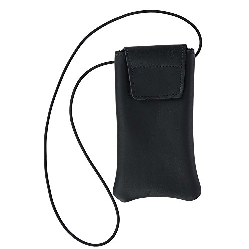Boston Leather Solid Leather Eyeglass Case with Neck String, Black