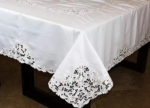 Mikash Embroidered Embroidery Cutwork Rectangular Tablecloth 54x72 | Model TBLCLTH - 868