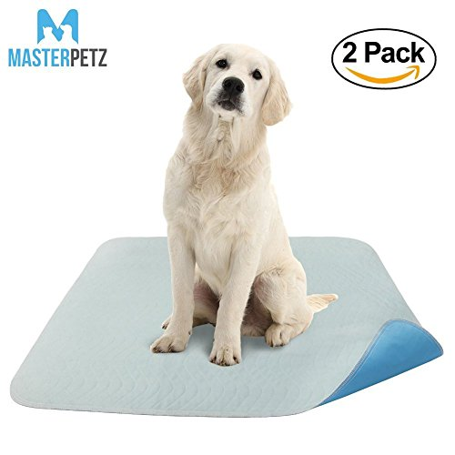 MASTERPETZ 2 Pack 34 x 36 Inch Large Premium Waterproof Reusable Pet Mat | Quilted Washable Large Dog Puppy Training Travel Pee Potty Pads Whelping Pads with 4 Layer Design High Soaking Capacity (Mat Puppy)