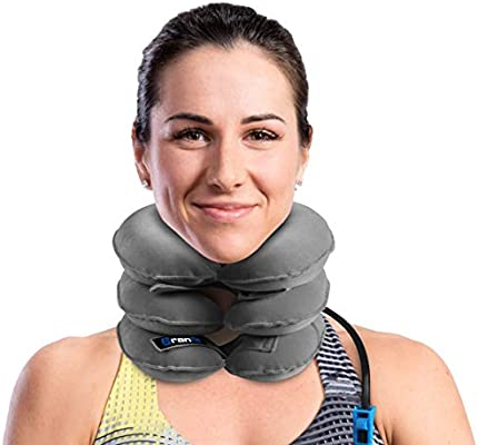 Cervical Neck Traction Device and Collar Brace by BRANFIT, Inflatable and Adjustable USA Designed Neck Support & Stretcher is Ideal for Spine Alignment and Chronic Neck Pain Relief