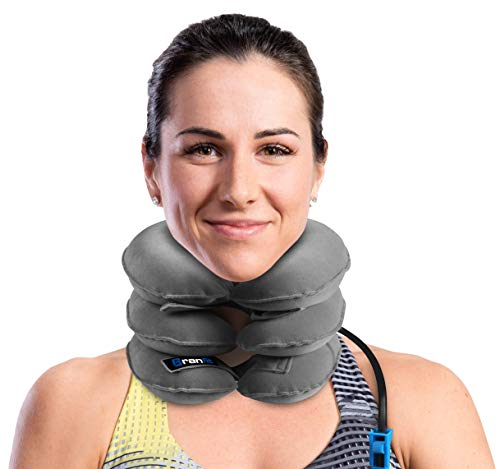 Cervical Neck Traction Device and Collar Brace by BRANFIT, Inflatable and Adjustable USA Designed Neck Support & Stretcher is Ideal for Spine Alignment and Chronic Neck Pain Relief (Best Treatment For Bulging Disc In Neck)
