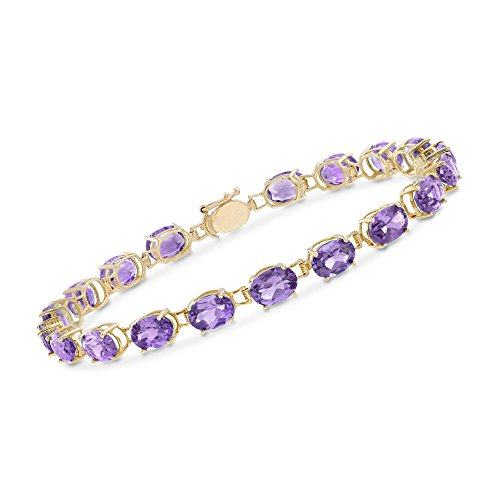 Ross-Simons 11.00 ct. t.w. Oval Amethyst Bracelet in 14kt Yellow Gold -