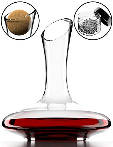 Full Lead Crystal Rose (Wine Decanter & Accessories (Cork Stopper + Cleaning Beads) - 100% Lead-Free Crystal Wine Carafe – Unique Gift Idea)