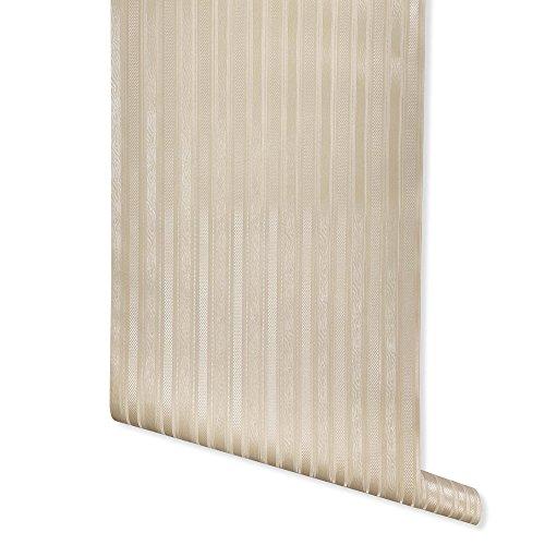 Boudin Stripe, Beige Textured Wallpaper for Walls - Sample Swatch - Romosa Wallcoverings AH7054 ()