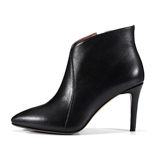 Stiletto Di Tacco Caviglia 41 5 Black Stivali Donna Nvxie eur38uk55 Pelle Nero Vero 8 Ballo Alto Appuntito uk Eur Fine Moda Anno 7 Lavoro wTIOSTYq
