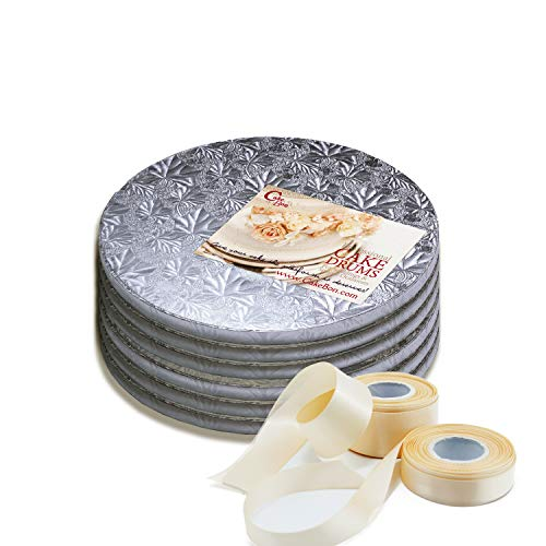 Cake Drums Round 10 Inches - Sturdy 1/2 Inch Thick - Professional Smooth Straight Edges - FREE Satin Cake Ribbon (Silver, 6-Pack) (Round Drum)