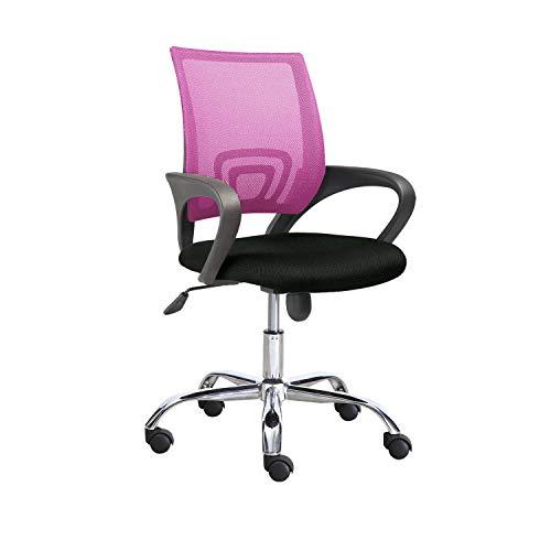 Adec - Phase, Silla de Oficina, Silla de Escritorio, Silla despacho, Color Rosa y Negro, Medidas: 60 cm (Ancho) x 60 cm (Fondo) x 90-102 cm (Alto)