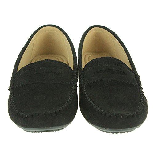 Frau Damen Komfort Büroarbeit Intelligent Leicht Mokassins Schule Flache Pumpe Schuhe Größe Schwarz