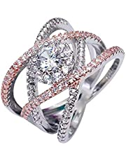 Silver 925 Rings for Women Girl Jewellery Crystal Stone elegant Leafs style Rings