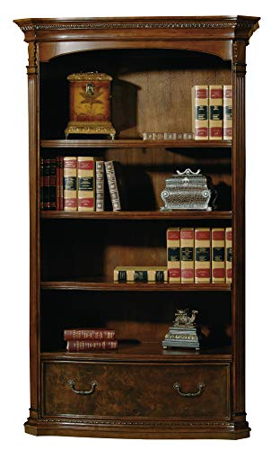 Hekman Furniture Executive Bookcase Center in Old World Walnut Burl Finish - - Hekman Desk Wood Executive