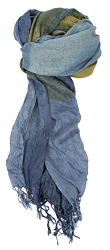 Love Lakeside-Women's Impressionist Watercolor Crinkle Scarf Denim Blue (Scarf Sari)