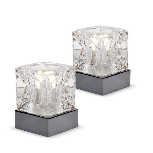 Pair of modern glass ice cube touch table lamps with black chrome pair of modern glass ice cube touch table lamps with black chrome bases aloadofball Image collections