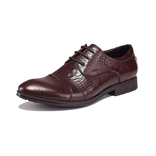 Scarpe in Pelle da Uomo Moda Scarpe Stringate da Uomo Inglesi Business Comfortable Brown