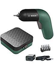 Bosch Cordless Screwdriver IXO VI (3.6 Volt, Rechargeable battery with micro USB-cable, variable speed control, 10 Screwdriver Bits, in Case), Green
