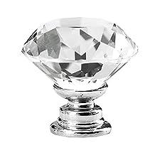 SODIAL(R) 10 Pcs 30mm Diamond Shape Crystal Glass Cabinet Knob