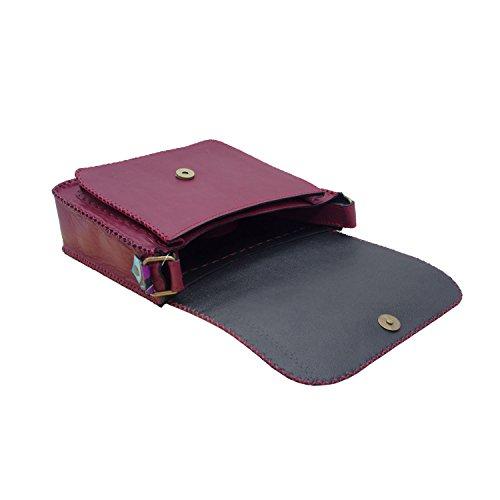 Koson Leather Hombro genuino de la taleguilla hecho a mano hombro unisex festival del partido del Cruz-Cuerpo bolso diario del mensajero del bolso púrpura