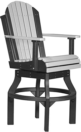 LuxCraft Adirondack Poly Swivel Chair – Bar Height (53″ Tall) (Dove Gray & Black) Review