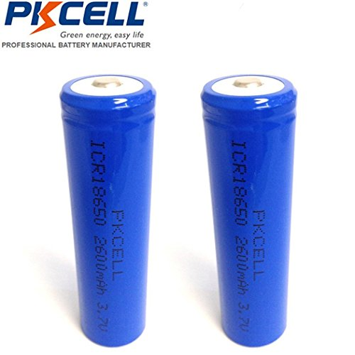 2 Pack 18650 2600mAh 3.7V Rechargeable Li-Ion Battery Button Top with Battery Charger by PK Cell (Image #1)