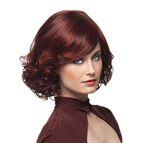 - Curly Wigs for Women, Fashion Synthetic Short Red Wine Curly Hair Wig Natural Hair Wigs Female Fiber