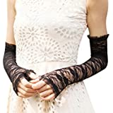 Women Sexy Elegant Lace UV Protection Long Fingerless Bridal Gloves Performance Evening Prom Wedding Gloves Black