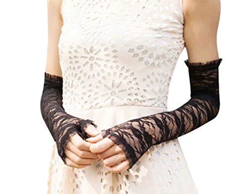 Women Sexy Elegant Lace UV Protection Long Fingerless Bridal Gloves Performance Evening Prom Wedding Gloves Black