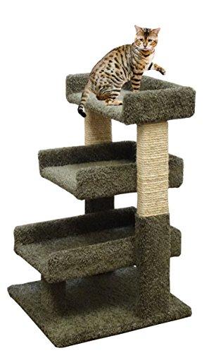 3 Tier Cat Furniture Ramp 33 inch Cat Scratcher Beds & Rope, Green Carpet For Sale