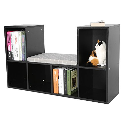 (GOTOTOP Multi-Functional Wooden Storage Shelf Bookshelf Bookcase with Reading Nook Home Office Use Practical New (Black))